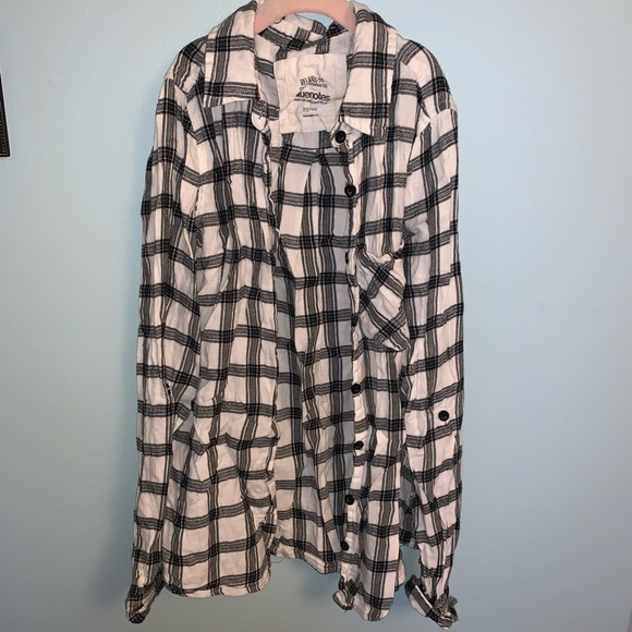 Bluenotes Tops - Bluenotes Black and White Flannel